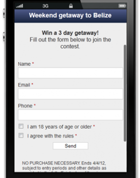 Mobile Contest/Giveaway Online Marketing